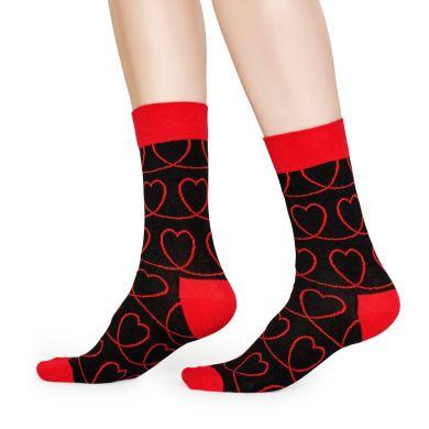 Černé ponožky Happy Socks s červenými srdci, vzor Loveline