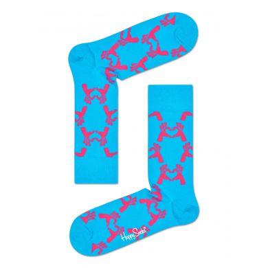 Modré ponožky Happy Socks s růžovým vzorem Love