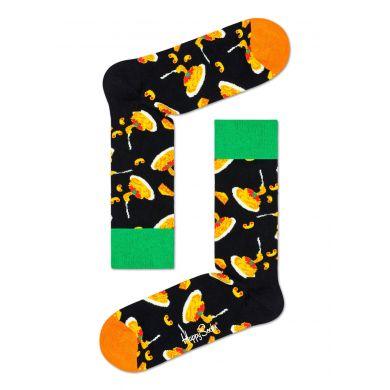 Černé ponožky Happy Socks s makaróny, vzor Mac & Cheese