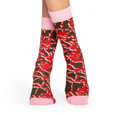 Červeno-hnědé ponožky Happy Socks s mramorovým vzorem Marble