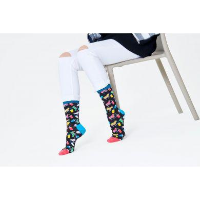 Černé ponožky Happy Socks s krávami, vzor Milkshake Cow