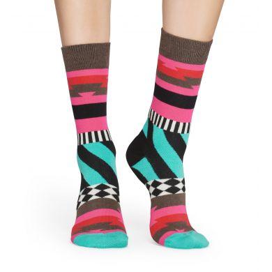 Hnědo-růžové ponožky Happy Socks s barevným vzorem Mix Max