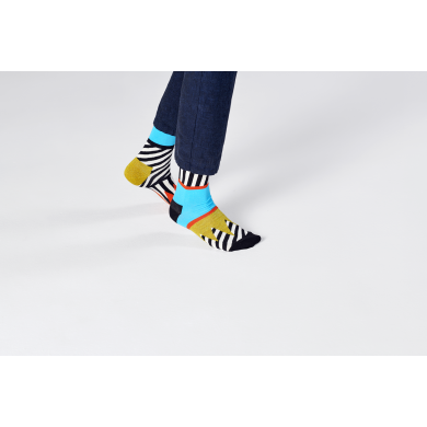 Černo-bílé ponožky Happy Socks s barevným vzorem Mix And Match