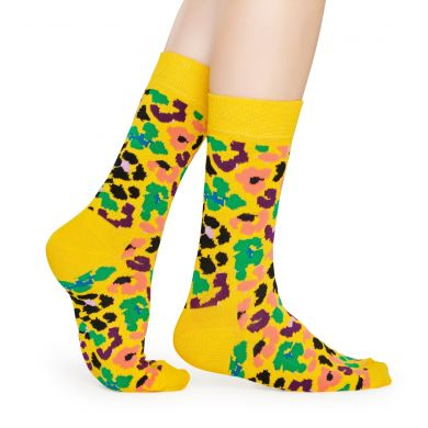 Žluté ponožky Happy Socks s leopardím vzorem, vzor Multi Leopard