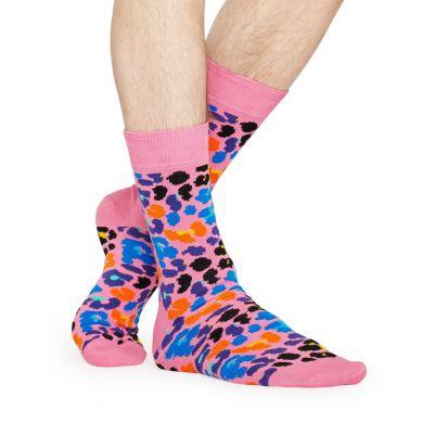 Růžové ponožky Happy Socks s leopardím vzorem, vzor Multi Leopard