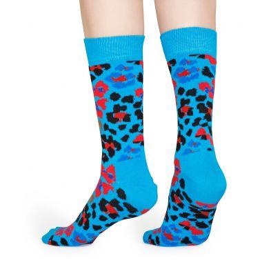 Modré ponožky Happy Socks s leopardím vzorem, vzor Multi Leopard