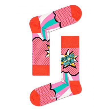 Růžové ponožky Happy Socks s komiksovým vzorem, vzor Super Mom