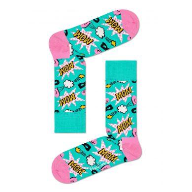Tyrkysovo-růžové ponožky Happy Socks s komiksovým vzorem, vzor Mom
