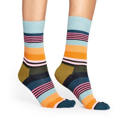 Barevné (šedomodré) ponožky Happy Socks, vzor Multi Stripe