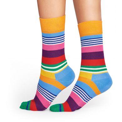 Barevné (oranžové) ponožky Happy Socks, vzor Multi Stripe