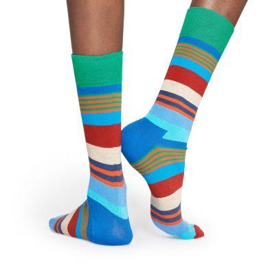 Barevné (modré) ponožky Happy Socks, vzor Multi Stripe