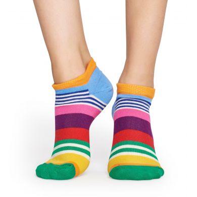 Nízké modro-žluté ponožky Happy Socks, vzor Multi Stripe