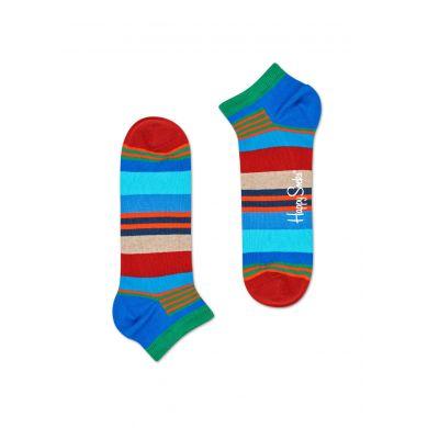 Nízké modro-červené ponožky Happy Socks, vzor Multi Stripe