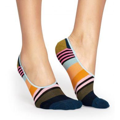 Nízké oranžovo-zelené ponožky Happy Socks, vzor Multi Stripe