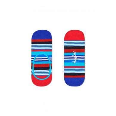 Modré nízké ponožky Happy Socks s barevnými pruhy, vzor Multi Stripe