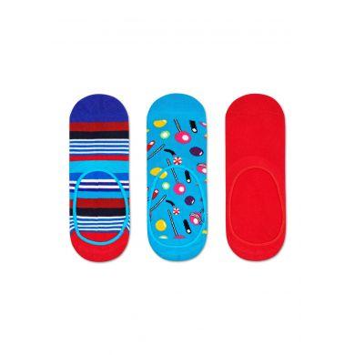 Nízké vykrojené ponožky Happy Socks, vzor Multi Stripe - tři páry