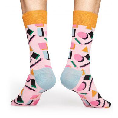 Růžové ponožky s barevným vzorem Nineties