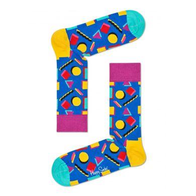 Modré ponožky s barevným vzorem Nineties