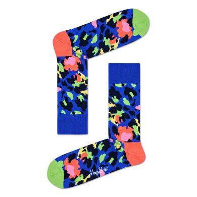Modré ponožky Happy Socks s barevným vzorem Leopard