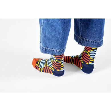 Modro-oranžové ponožky Happy Socks s barevným vzorem Optic Dot