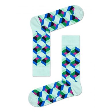 Modro-zelené ponožky Happy Socks, vzor Optiq Square