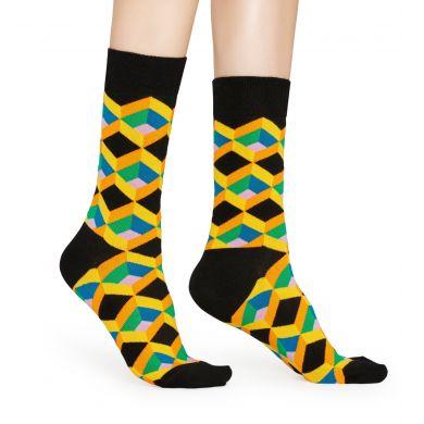 Černé ponožky Happy Socks, vzor Optic Square