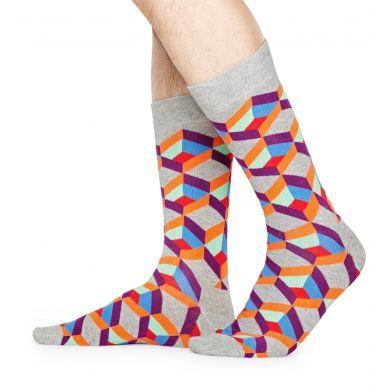 Šedé ponožky Happy Socks, vzor Optic Square