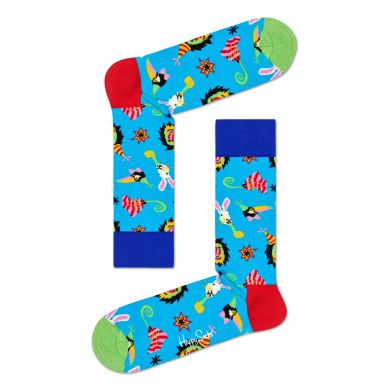 Modré ponožky Happy Socks se zvířátky, vzor Party Animal