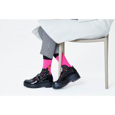 Růžovo-černé ponožky Happy Socks, vzor Paint