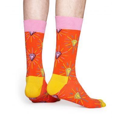 Oranžovo-žluté ponožky s diamantem z kolekce Happy Socks x Pink Panther, vzor Pink Plunk Plink