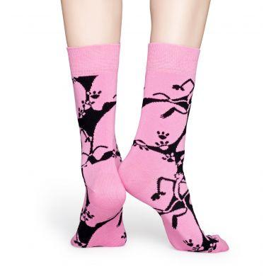 Růžovo-černé ponožky z kolekce Happy Socks x Pink Panther, vzor Pink-A-Boo
