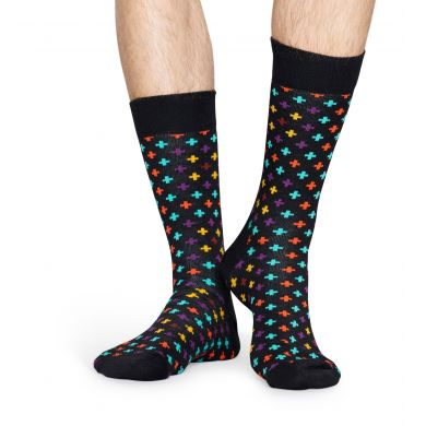 Černé ponožky Happy Socks s barevným vzorem Plus