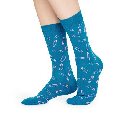 Modré ponožky Happy Socks se spínacími špendlíky, vzor Pins