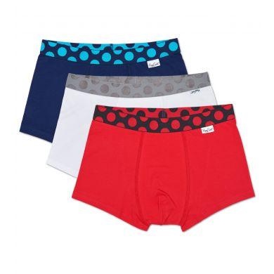 3x Solid boxerky Happy Socks, barevné - Pop