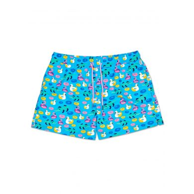 Modré pánské plavky Happy Socks s nafukovacími labutěmi, vzor Pool Party