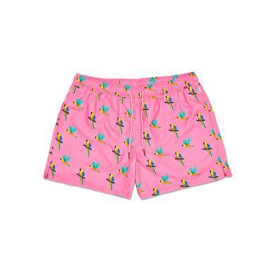 Růžové pánské plavky Happy Socks s papoušky, vzor Parrot