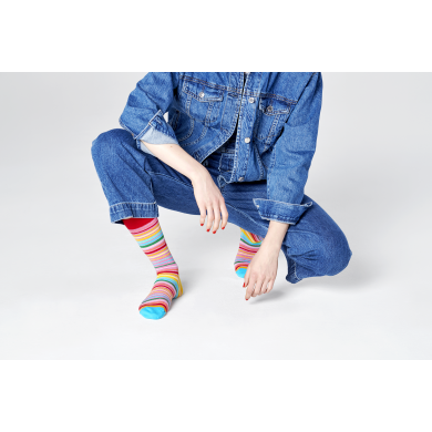 Barevné pruhované ponožky Happy Socks, vzor Pride Sunrise