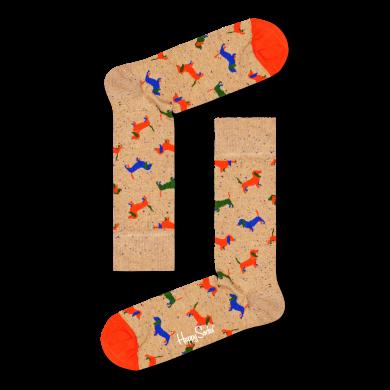 Béžové ponožky Happy Socks se psy, vzor Puppy Love