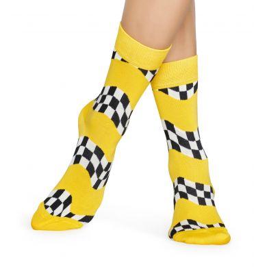 Žluté ponožky Happy Socks s černobílým vzorem Race
