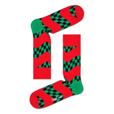 Červeno-zelené ponožky Happy Socks se vzorem Race