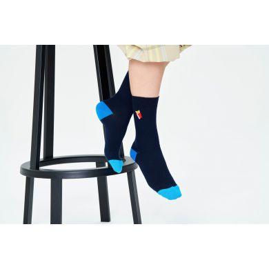 Modré vroubkované ponožky Happy Socks s vyšitými hranolky, vzor Fries