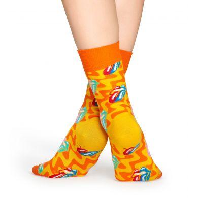 Oranžovo-žluté ponožky s vypláznutým jazykem z kolekce Happy Socks x Rolling Stones, vzor Beast of Burden