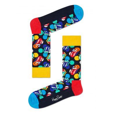 Barevné ponožky s logem vypláznutého jazyka z kolekce Happy Socks x Rolling Stones, vzor Big Licks