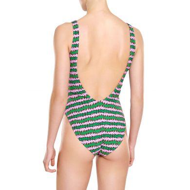 Zeleno-růžové dámské plavky Happy Socks s pruhy, vzor Rock´n Roll Stripe