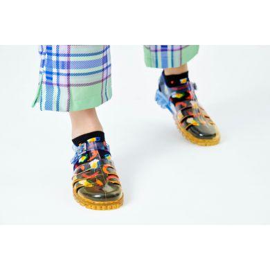 Černé nízké ponožky Happy Socks s pivem a párkem, vzor Sausage & Beer