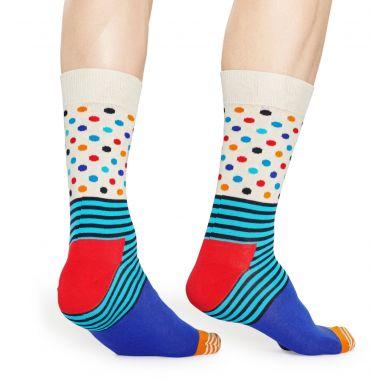 Barevné ponožky Happy Socks s proužky a puntíky, vzor Stripe & Dots