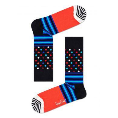 Černo-červené ponožky Happy Socks se vzorem Stripes And Dots