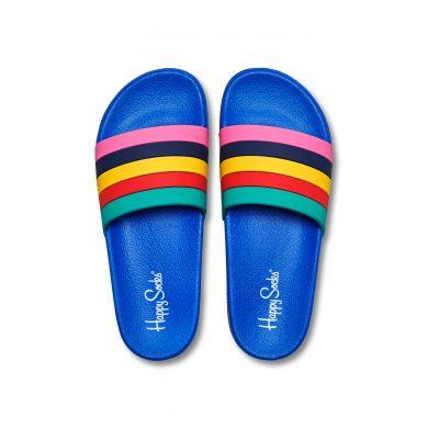Modré pantofle Happy Socks Pool Slider s barevnými pruhy, vzor Stripes