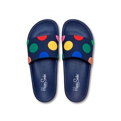 Modré pantofle Happy Socks Pool Slider s barevnými puntíky, vzor Dot