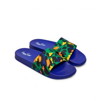Modré pantofle Happy Socks Pool Slider s barevným vzorem Leopard